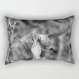Hummingbird and the Flower- Black and White Rectangular Pillow