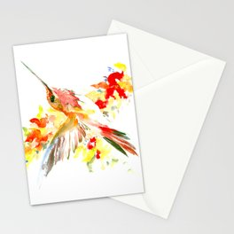 Hummingbird and Flame Colored Flowers Stationery Cards