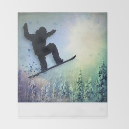 The Snowboarder: Air Throw Blanket