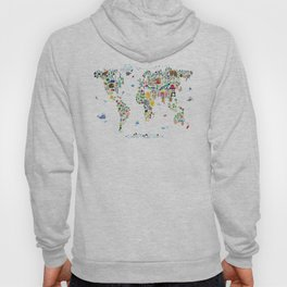 Animal Map of the World for children and kids Hoody
