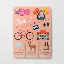 Portland Art Print Metal Print