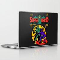 superhero Laptop & iPad Skins featuring Superhero Comic by harebrained