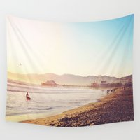 santa monica Wall Tapestries featuring Santa Monica Beach Sunset by SoCal Chic Photography