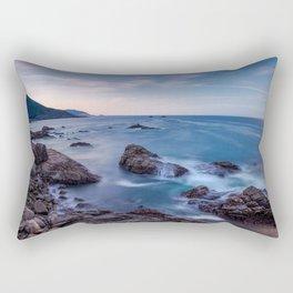 Rocky Shore - Waves Crash on Rocks Along Coast at Big Sur Rectangular Pillow