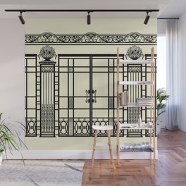 ART DECO, ART NOUVEAU IRONWORK: Black and Cream Wall Mural