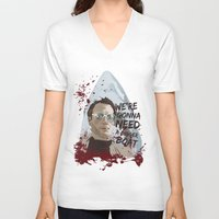 jaws V-neck T-shirts featuring Jaws by Colo Design