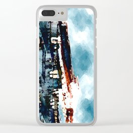 Blue Gray Day Clear iPhone Case