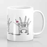 thrones Mugs featuring The Plastic Thrones by Helena McGill