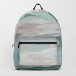 Sage Green Sky Blue Blush Pink Abstract Nature Sky Wall Art, Water Land Painting Print Backpack