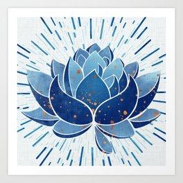Indigo Lotus Blossom Art Print
