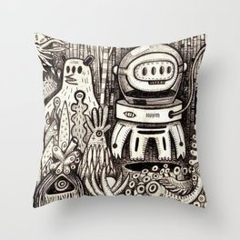 OGM GARDEN - La visite Throw Pillow