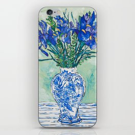 Iris Bouquet in Chinoiserie Vase on Blue and White Striped Tablecloth on Painterly Mint Green iPhone Skin