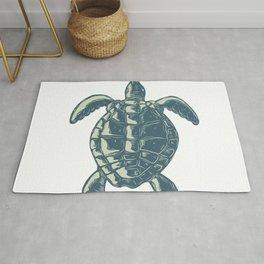 Sea Turtle Top View Scratchboard Rug