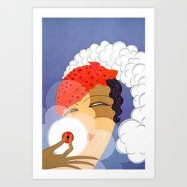 "Art Deco Design ""Powder Puff"" Art Print"