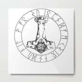 Thor's Hammer Viking Runes Metal Print