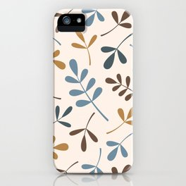 Assorted Leaf Silhouettes Blues Brown Gold Cream iPhone Case