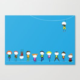children on a blue background Canvas Print