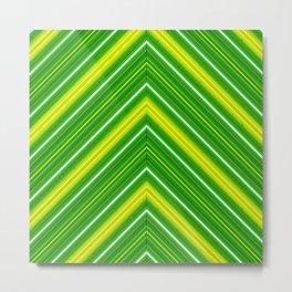 Modern Diagonal Chevron Stripes in Shades of Green and Yellow Metal Print