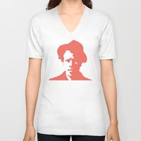 tom waits V-neck T-shirts featuring Tom Waits in Red by JennFolds5 * Jennifer Delamar-Goss