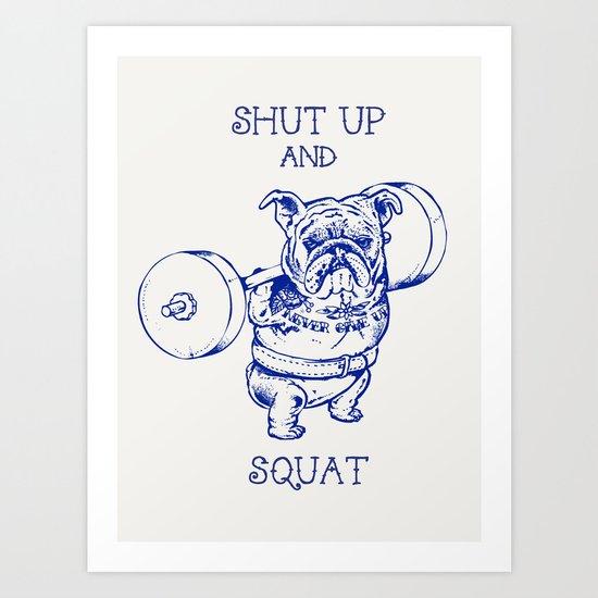 English Bulldog Squat Art Print