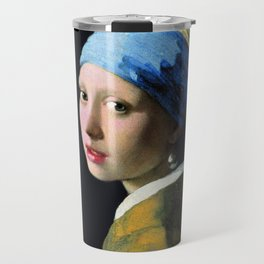 Jan Vermeer Girl With A Pearl Earring Baroque Art Travel Mug