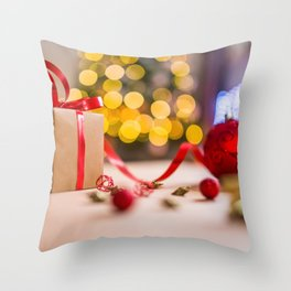 Christmas Photography - Present And Red Christmas Ball Throw Pillow