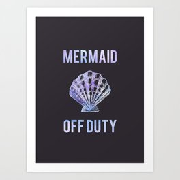 Mermaid Off Duty - Purple Seashell Art Print