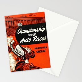 Midget Auto Races, Race poster, vintage poster Stationery Cards