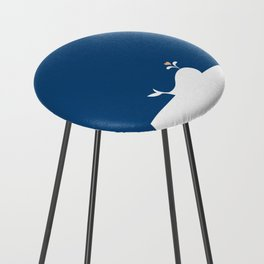 Whale in Blue Ocean with a Love Heart Counter Stool
