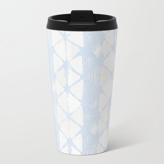 Simply Braided Chevron Sky Blue on Lunar Gray Metal Travel Mug