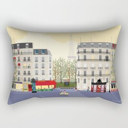 Paris Street Scene Art Print - Dawn Rectangular Pillow