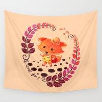 alisa burke Wall Tapestries featuring Hello Miss Fox!! by haidishabrina