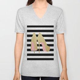 High Heels,Glitter Print,Gold Print,Wall Art,Home Decor,Fashion Illustration,Fashion Print,Gift Idea Unisex V-Neck