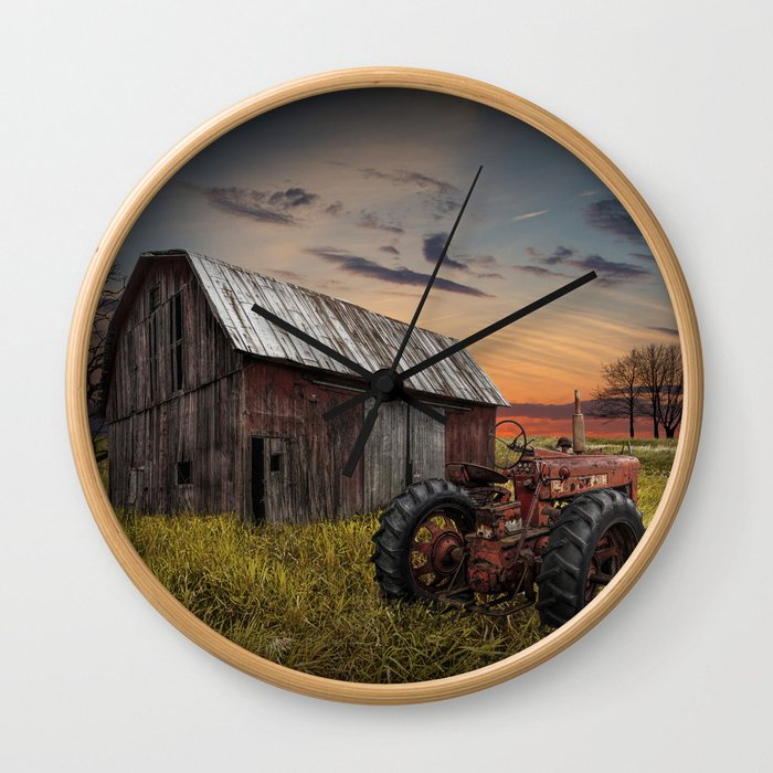 Abandoned Farmall Tractor and Barn Wall Clock