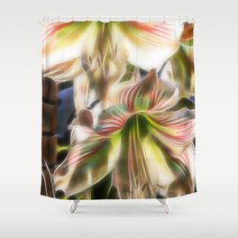 Abstract amaryllis in a garden Shower Curtain