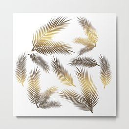 Faux Gold Foil Tropical Leaves Metal Print