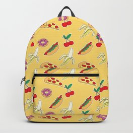 Modern yellow red fruit pizza sweet donuts food pattern Backpack