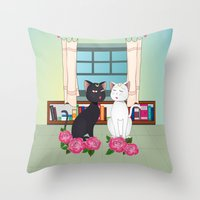 anime Throw Pillows featuring Anime Cats by MyimagesArt