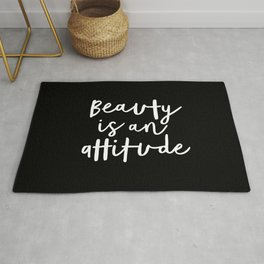 Beauty is an Attitude black and white monochrome typography poster design home wall bedroom decor Rug
