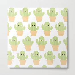 Cute cactus pattern Metal Print