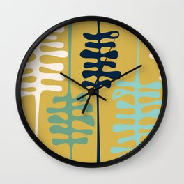 Abstract jungle - mustard Wall Clock