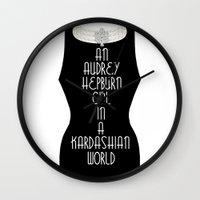 kardashian Wall Clocks featuring An Audrey Hepburn girl in a Kardashian world by Miss Golightly