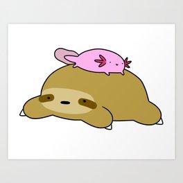 Axolotl and Sloth Art Print