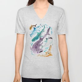 Help Stop Shark Finning - Watercolor Ocean Animals - Fish Unisex V-Neck