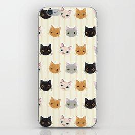 Cute Kitten & Stripes Pattern iPhone Skin