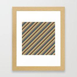 Indigo Orange Sky Blue Inclined Stripe Framed Art Print