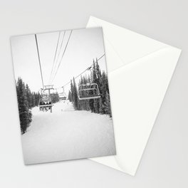 Ski Chair Lift B&W \\ Deep Snow Season Pass Dreams \\ Snowy Winter Mountains Landscape Photography Stationery Cards