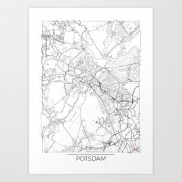 Potsdam Map White Art Print
