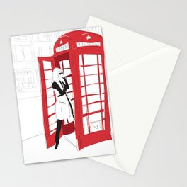 London Calling Fashion Phone Booth Girl Stationery Cards