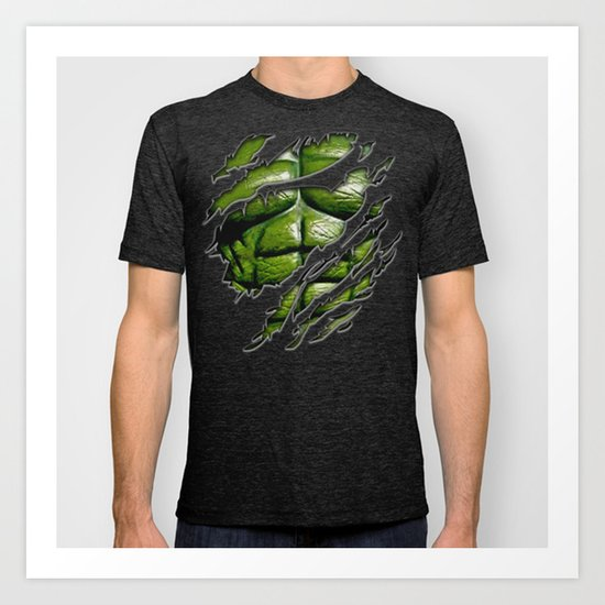 Bruce banner ripped torn tee tshirt iphone 4 4s, 5 5s 5c, ipod, ipad, pillow case Art Print